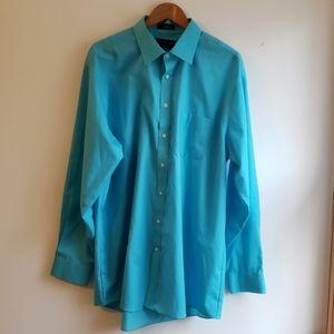Aqua blue button down dress shirt